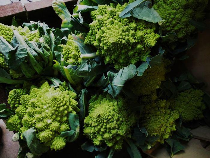 Close-up of romanesco cauliflower on table