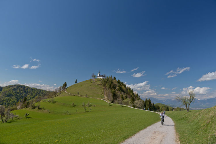 Adventure Beauty In Nature Bikers Blue Sky Church Day Free Ride Freedom Grass Green Color Green Grass Katarina Mountain Mountain Bike Mountain Biking Mountain View MTB Nature Sky And Clouds Spring Sveti Jakob Tranquil Scene Tranquility The Great Outdoors - 2016 EyeEm Awards Way Up