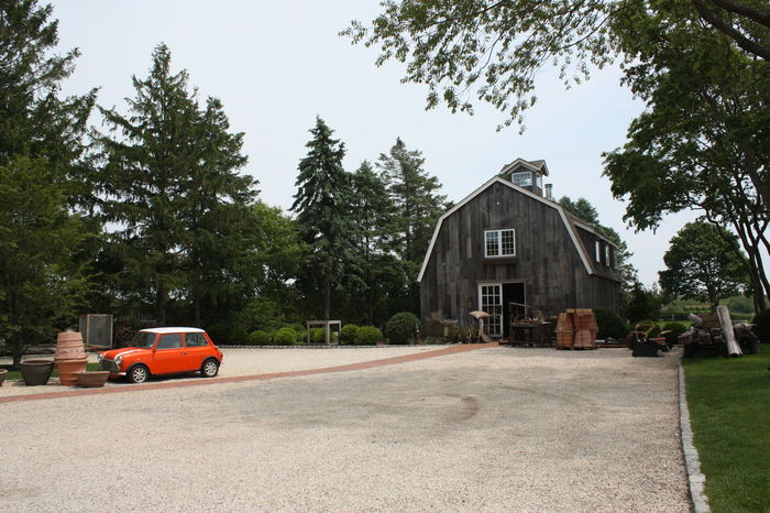 Architecture Barn Building Exterior Built Structure Car Day House MiniCooper No People Orange Color Outdoors Sky Tree
