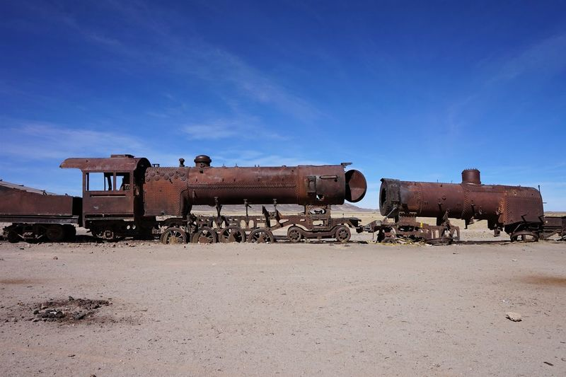 Abandoned Bolivia Cementerio De Trenes Day Desert Metal Industry Nature No People Oil Industry Oil Pump Outdoors Sky South America Sunlight Uyuni