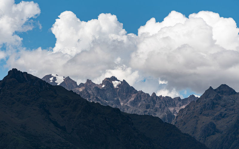 Scenic view of the andes mountains with snow covered peaks, against sky