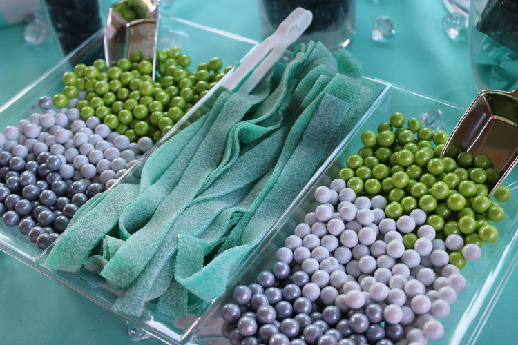 Candy Desert Bar Green Color Hors D'oeuvres Lavendar Party Party Favors Purple Rope Candy Serving Dish Serving Size Serving Tray Snack Bar Snacks Sticky Candy  Sugar Teal