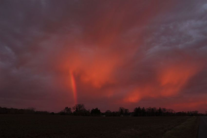 watching the morning sunrise reflect off of these beautiful clouds and this amazing 7am rainbow appeared for brief moments! Morning Light Morning Sun Rainbow Sky Clouds And Sky Landscape Nature No People Outdoors Sky Sunrise Reflections