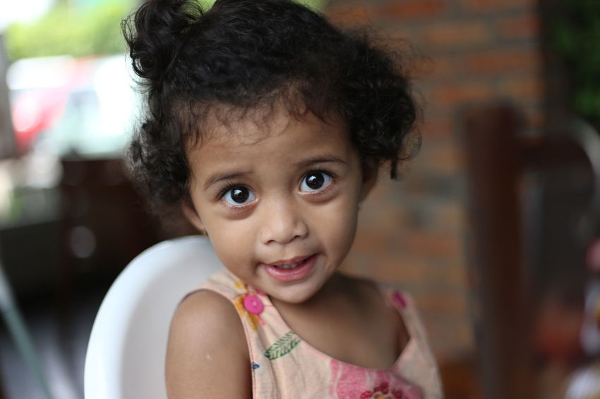 An little curly girl staring to camera innocently 2017 Child Childhood Close-up Cute Daughter Domestic Kitchen Focus On Foreground Girls Headshot Home Home Interior Horizontal INDONESIA Indoors  Innocence Lifestyles Looking At Camera One People One Person People Photography Portrait Preschool Age Real People
