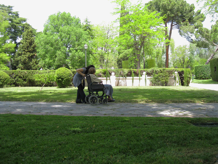 Adult granddaughter assisting her grandmother sitting in wheelchair Assist Assistance Daughter Granddaugter Grandmother Grass Green Color Nature Outdoors Park Park - Man Made Space People Sitting Tree Weelchair
