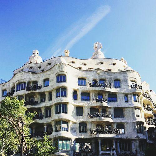 Barcelona, Spain La Pedrera, Casa Milá Casa Milà Gaudì Building Exterior Built Structure Architecture Sky Building Low Angle View Blue