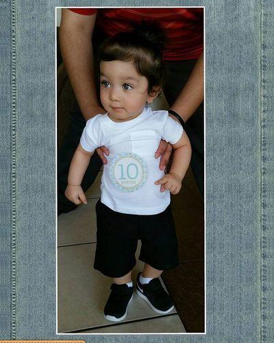 Danieljr is 10 months old now! Nike JustDoIt Babylove Mamasboy BlueEyes CuteBabiesofInstagram Longhairdontcare Hansome Cutiepie WhiteTee Bigboy