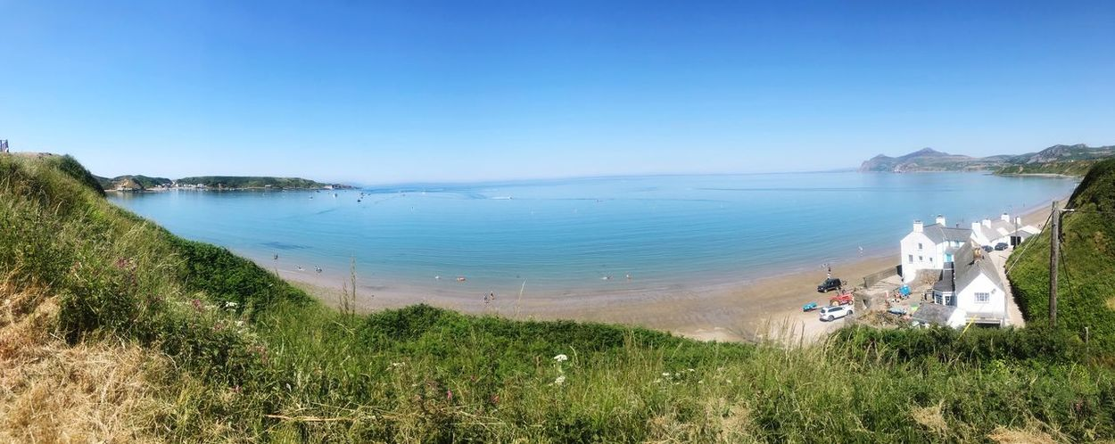 Welsh summers day Beach Water Sky Sea Beach Land Beauty In Nature Plant Clear Sky Nature Scenics - Nature Day Horizon Horizon Over Water Blue Grass Tranquility Outdoors Tranquil Scene First Eyeem Photo
