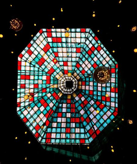 Stars Pattern Illuminated No People Night Low Angle View Multi Colored Indoors  Lighting Equipment Shape Design Decoration Geometric Shape Architecture Circle Hanging Built Structure Art And Craft Dark Directly Below Stained Glass