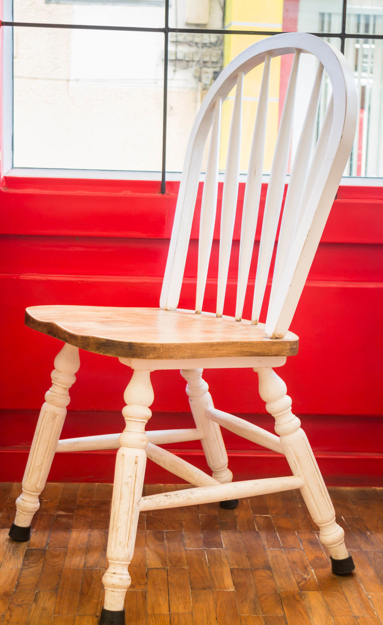 chair, red, table, indoors, wood - material, no people, day, seat, close-up