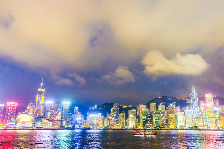 The Symphony of Lights in Hong Kong #Symphony Building Exterior Cloud - Sky Night River Sky Tourism Travel Destinations