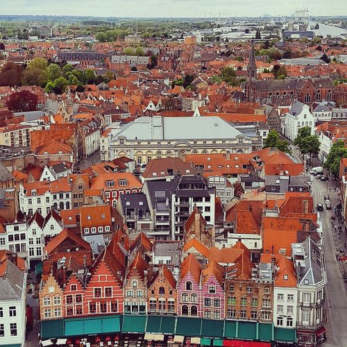 Pattern Close-up Outdoors Scenics Belfort Viewfromabove Brugge Cloud - Sky Sky City Architecture Building Exterior Houses