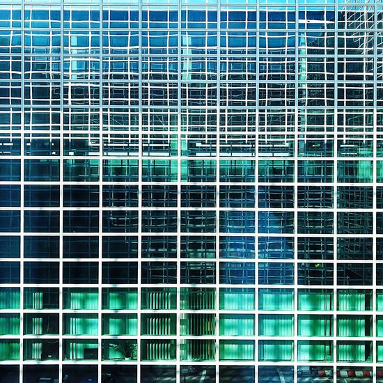 Windows Full Frame Backgrounds No People Pattern Built Structure Window Architecture Day Building Exterior Repetition Building Grid Modern Square Shape Green Color Outdoors Metal Geometric Shape In A Row Glass - Material