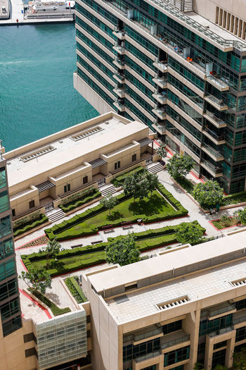 Marina Dubai Architecture Building Exterior Built Structure High Angle View City Building Water Day Residential District Nature No People Outdoors Pool Swimming Pool Transportation Sunlight Street Mode Of Transportation Sport
