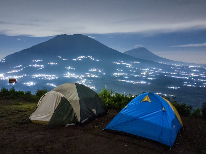 Scenic view of tent against sky