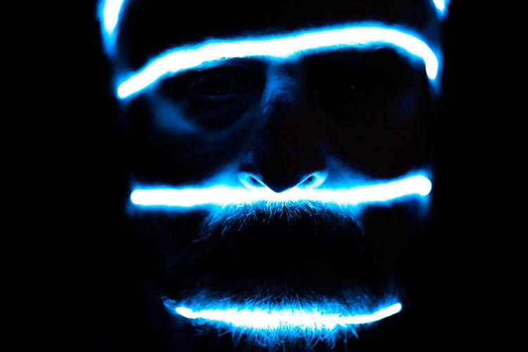 Male face futuristic illumination