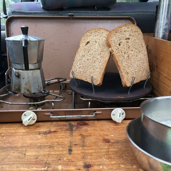Camping kitchen breakfast Camping Coffee Espresso Maker Espresso EyeEm Selects Table Indoors  Food And Drink Bread No People Toaster