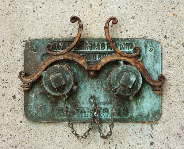 WALL FIRE HYDRANT Wall Antiques Close-up Fire Hydrant Metal Old Rusty Urban