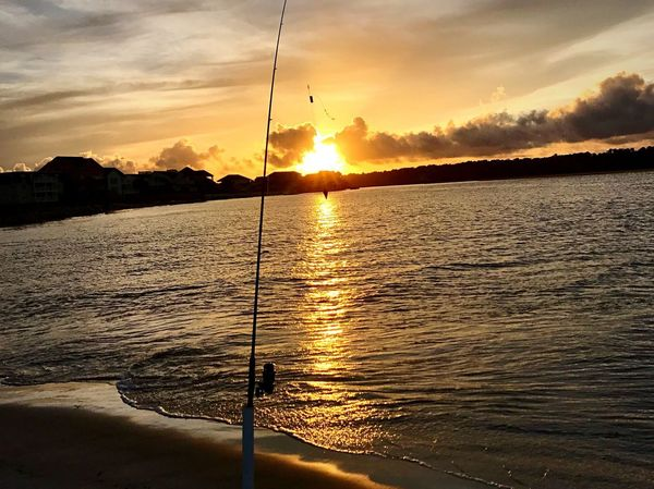 We never actually caught anything :/ Sunset Water Nature Scenics Tranquil Scene Beauty In Nature Cloud - Sky Reflection Sky Outdoors Sunlight Sea