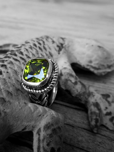 Peridot Ring. Gemstone  Isolated Color Green Colorsplash Splash Peridot Ring Peridot Jewelry Close-up Ring No People Indoors  Focus On Foreground Still Life