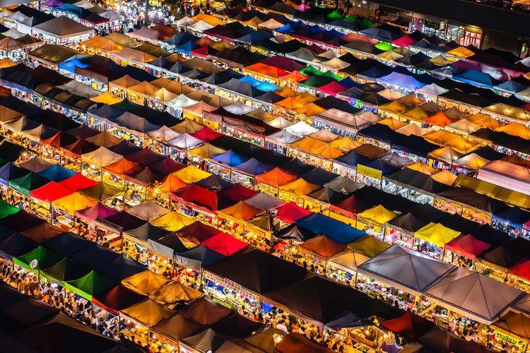 Full frame shot of multi colored stalls in market