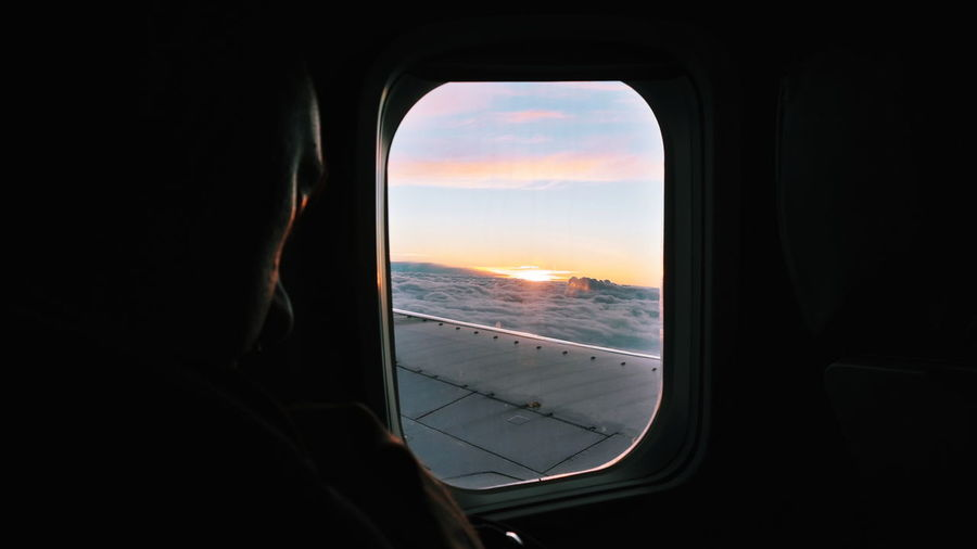Air Vehicle Airplane Airplane Wing Beauty In Nature Cloud - Sky Flights Flying Journey Looking Through Window Mode Of Transport Nature Sky Sunset Travel VSCO Window