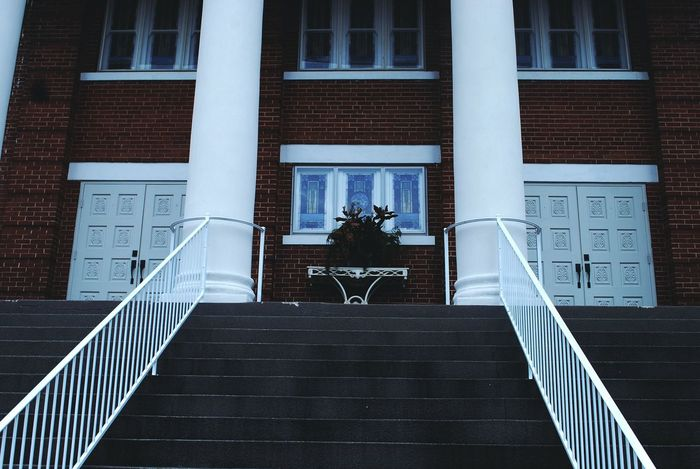 Building Exterior Architecture Built Structure Steps No People Outdoors Steps And Staircases Day Staircase Double Doors Pillars Americana Rural Scene Rural Church Jesus Christ Scary Cold Winter Artic Unity Cult Culture Odd Gathering
