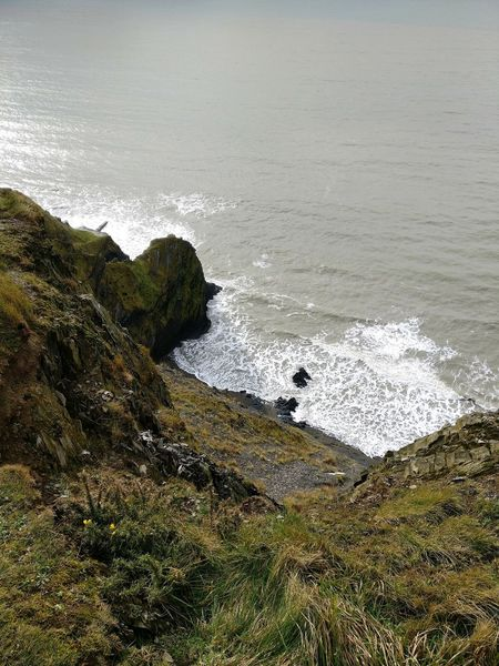 Water Cliff Cliffside Cliffs And Sea Cliffs And Water Cliffside View CliffEdge Cliffs Edge Cliff Top Aberystwyth Sea Nature Wave Green Wales Wales UK Wales, UK Walescoast