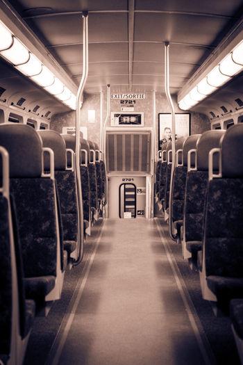 Empty Empty Train Illuminated Night Train No People Public Transportation Train Interior Transportation Travel