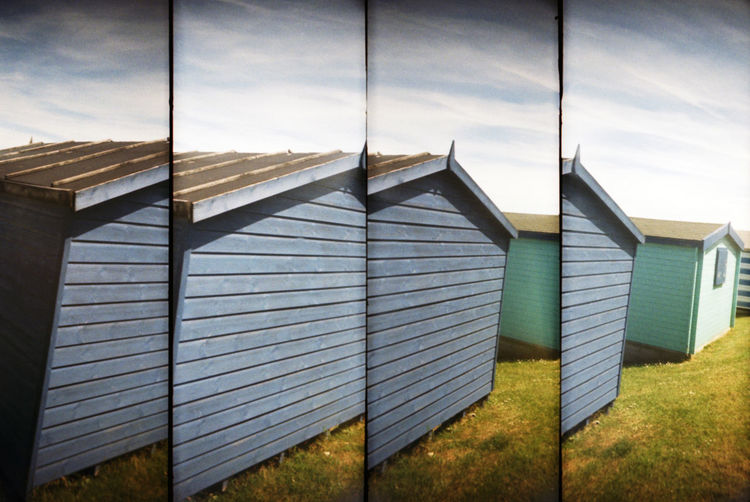 Collage Of Beach Cabins On Field Against Sky