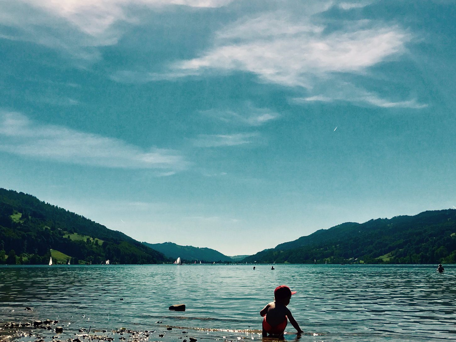 Großer Alpsee Water Lake Nature Sky Real People Mountain Beauty In Nature Outdoors Cloud - Sky Spielen Baden Bavaria Bavarian Alps Bavarian Lake Kids New Era Cap Spielzeug Tag Sonne Sunny Day Lifestyles Arizona Cardinals