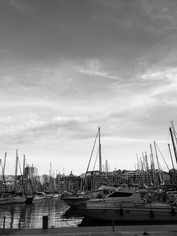 Vieux port 📍 Marseille monochrome photography Monochrome Nopeople Boats⛵️ Boats Boat Port Nautical Vessel Transportation Water Sky Harbor Moored Mode Of Transportation Architecture Cloud - Sky Built Structure Sailboat No People Nature Waterfront Mast Crane - Construction Machinery Commercial Dock Pole Day Outdoors