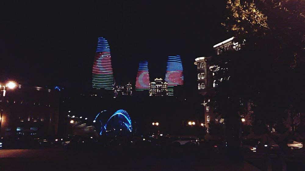 Azerbaijan Baku People Watching I Don't Care, I Love It Around Azerbaijan Night Lights Flame Towers Good Night After Dark