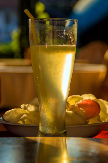 fresh lemonade Food Snack Food And Drink Drink Table Still Life Close-up Drinking Glass Focus On Foreground Lemonade Shrimp Chips
