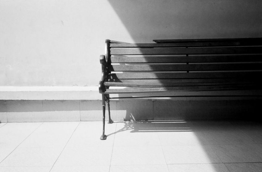 Broken bench Architecture Bench Black And White Black Black And White Day No People Outdoors Shadow
