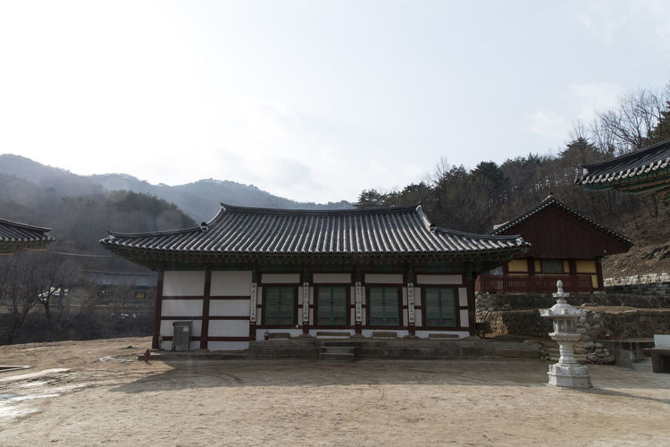 Geonbongsa which is Buddhism temple located in Goseonggun, Gangwondo, South Korea Architecture Buddhism Building Exterior Built Structure Clear Sky Cultures Day Geonbongsa No People Outdoors Religion Roof Sky Temple Tranquility Travel Destinations Tree