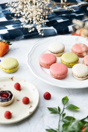 Food And Drink Food Sweet Food Dessert Sweet Indulgence Freshness Cake Temptation Ready-to-eat Macaroon No People Table Still Life Unhealthy Eating Baked Fruit Plate Choice Variation