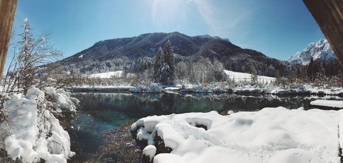 Breathtaking winter landscape. Winter Landscape Ice Snow Lake Mountains Showcase March Reflection Outdoors Traveling Valley Nobody Wintertime Sky Sun EyeEm Best Shots Ice