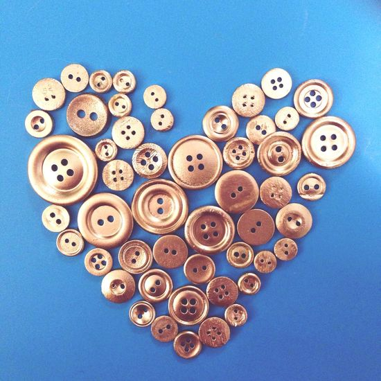 Sewing Buttons Color Gold Hamdmade Love Heart Sew Art Tailored To You