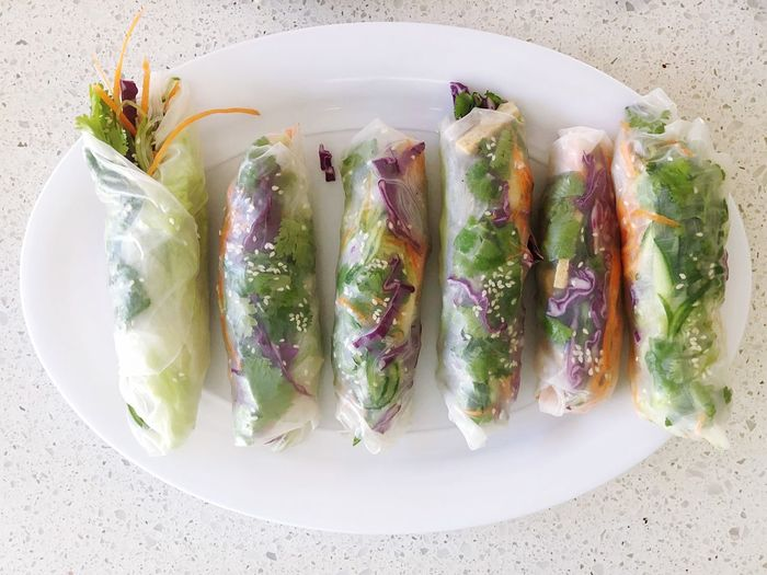 Vietnamese rice paper rolls Rolls Food Vietnamese Rice Paper Rolls Vietnamese Food Food And Drink High Angle View Healthy Eating Food Plate No People Directly Above Ready-to-eat Freshness Close-up