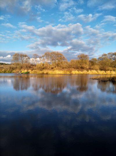 Water Tree Lake Symmetry Autumn Reflection Flood Sky Cloud - Sky Landscape