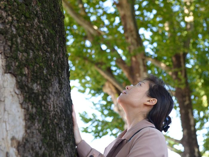 Low angle view of woman looking up tree