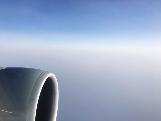 Airplane Air Vehicle Transportation Journey Aerial View Mode Of Transport Copy Space Sky Flying Clear Sky Airplane Wing Jet Engine