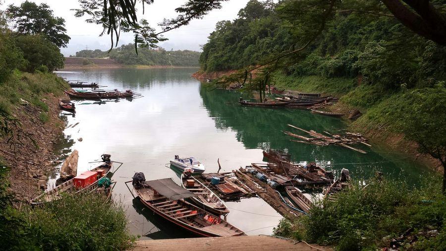 View of boats at lakeshore