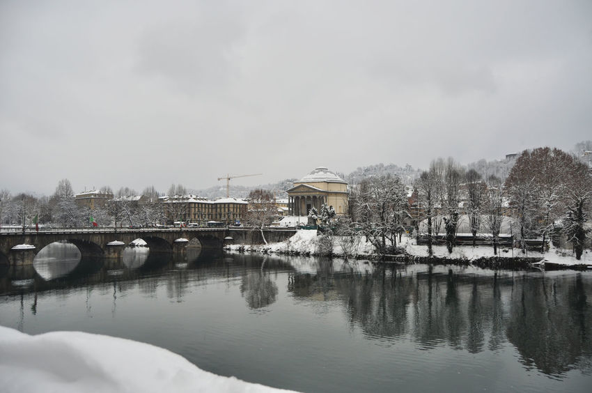 Turin city center Church City Cityscape EyeEmNewHere Frozen Gran Madre Torino Architecture Bridge Bridge - Man Made Structure Built Structure Chiesa Cold Connection Inverno No People Outdoors Po River Reflection River Tree Turin Winter