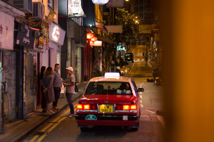 Triasia Trip Taxi Transportation Street City Life City Street Nightlife Narrow Street Traveling Travel Photography Soho Hongkong Taxis HongKong Taxi Illuminated It's About The Journey
