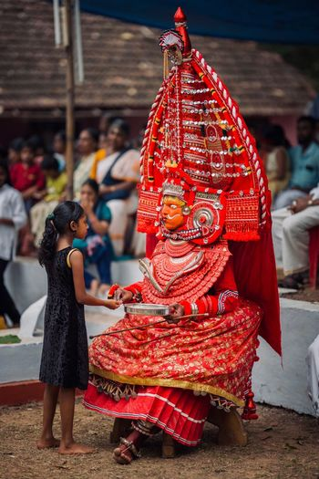 Theyyam of Kannur - Kerala / India Rite Festival Tradition Kannurphotos Kannur Theyyam Theyyams Of Kannur India Indian Indian Culture  Kerala, India Red Incidental People Focus On Foreground Real People Childhood Two People Child