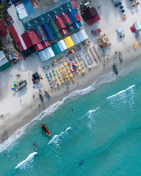 High angle view of people on sea