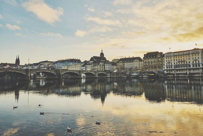 Sunset in Basel Switzerland Architecture Water Reflection Waterfront City Sunset Rhine River Switzerland Winter Clay Hayner Photo Photography Photooftheday Travel Travel Destinations Travel Photography Cloud - Sky Landscape Photo Of The Day Traveling River Outdoors ClayHaynerPhoto Cityscape Travelphotography Travelgram