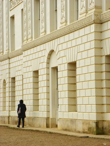 Architecture Built Structure Building Exterior One Person City Day Adult Woman Walking White Facade White Building
